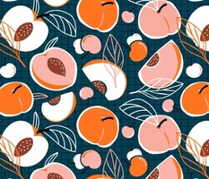 You're A Peach - Stone Fruit Dark Teal Large Scale