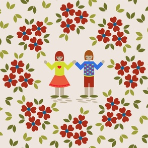 Folk Art Children Playmat - red and blue flowers  Large Scale Floral Leaves