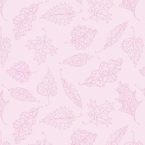 swirling leaves in just pink