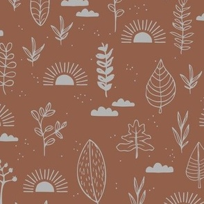 Fall leaves and petal garden sunrise autumn day earth boho design stone red brown gray
