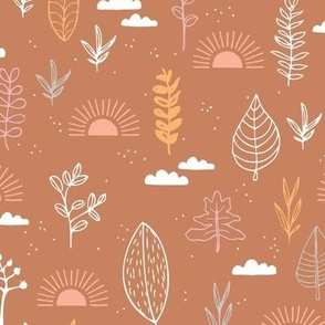 Fall leaves and petal garden sunrise autumn day earth boho design moody coral sienna orange pink