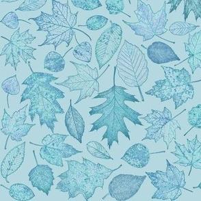small leaf etchings in teal hues