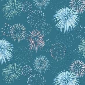 fireworks on teal blue