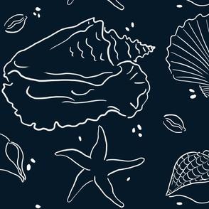 Shells_Blue Background _Nautical_Wallpaper_Fabric