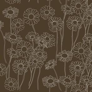 Doodle Flowers #2 Brown Back