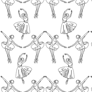 Ballerinas line drawing