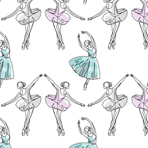 Ballerinas line drawing colors