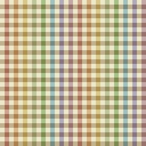 cream rainbow stripe gingham