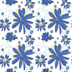 Blue Daisy Seamless (transparent background)