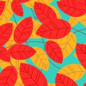 Leaves. Red-marine