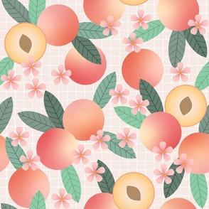 geometric peaches on pink