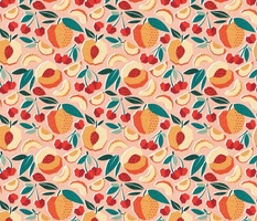 Sweet as a peach pretty as a cherry // normal scale // rose background geometric paper cut peaches and cherries