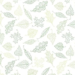 swirling leaves - shades of green on white
