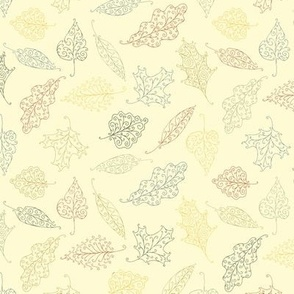 swirling leaves -  rust, gold, tan, navy and olive on cream