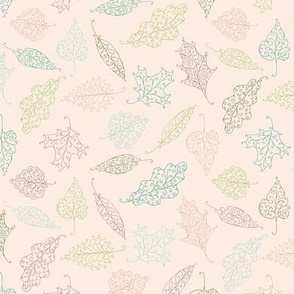 swirling leaves - green, teal, olive and pink on pale pink
