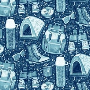 Camp Whimsy in Monochrome Blue and White - small