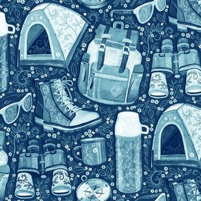 Camp Whimsy in Monochrome Blue and White - medium