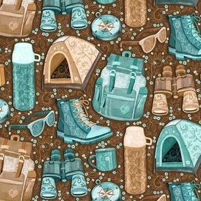 Camp Whimsy in Cyan and Brown - small