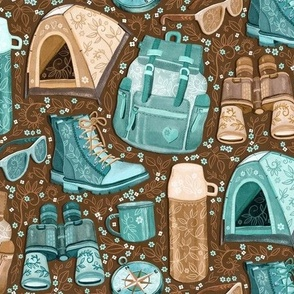 Camp Whimsy in Cyan and Brown - medium