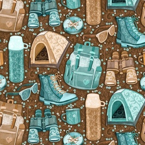 Camp Whimsy in Cyan and Brown - large