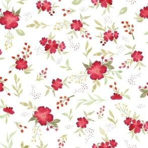 Fleurs à l'aquarelle fond blanc
