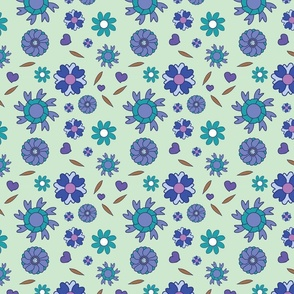 Abstract Flower Pastel  Blue