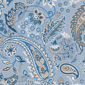 Glory Paisley-Grey Blue. Navy Ochre Blue Ivory Paisley Large Scale