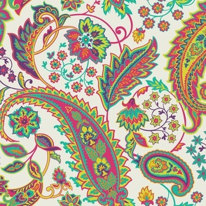 Glory Paisley-Lime Green. Lime Green Pink Yellow Purple Ivory Paisley Large Scale
