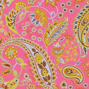 Glory Paisley-Pink. Grey Pink Yellow Terracotta Paisley Large Scale