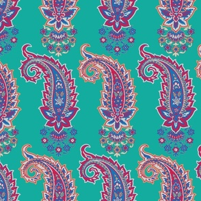 Glory Paisley-Boteh Turquoise. Red Blue Ochre Ivory Paisley Regular Scale
