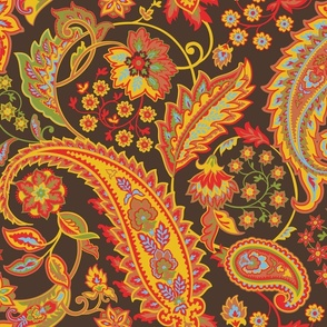 Glory Paisley-Brown. Orange Blue Red Yellow Olive Terracotta Paisley Large Scale
