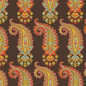Glory Paisley-Boteh Brown. Orange Blue Red Yellow Olive Terracotta Paisley Regular Scale
