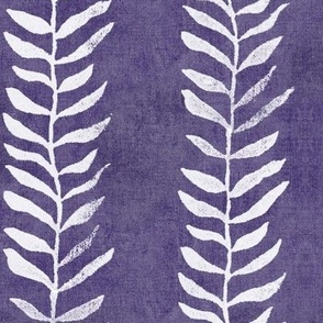 Botanical Block Print in Blackberry (xl scale)   Leaf pattern fabric in royal purple from original plant block print, blackberry wine, berry fabric in rich purple and white.