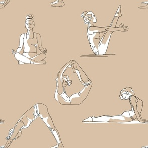 Yoga outlines with white