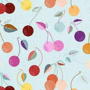 Charming Cherries I 19 x 16_5 inch I GRID Pink CentraI I Background Aqua
