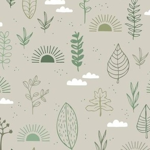 Fall leaves and petal garden sunrise autumn day earth boho design green sage mint forest on beige