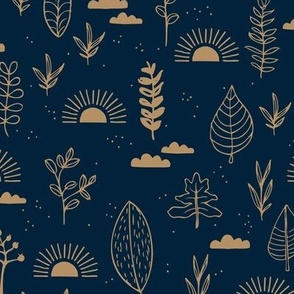 Fall leaves and petal garden sunrise autumn day earth boho design night blue navy gold