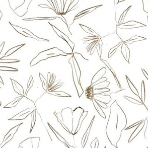 Earthy tropical botanical hand drawn leaves and flowers - painted nature - contour pen monochrome - a412 - 3