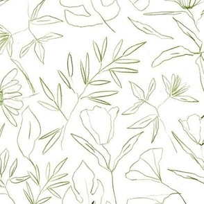 tropical botanical hand drawn leaves and flowers - painted nature - contour pen monochrome - a412 - 4