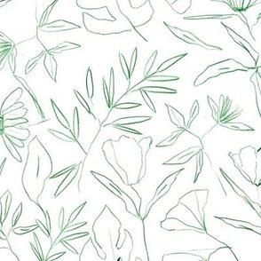 Contour tropical botanical hand drawn leaves and flowers - painted nature - contour pen monochrome - a412 - 5