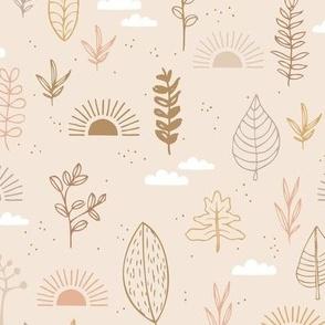 Fall leaves and petal garden sunrise autumn day earth boho design warm beige sand neutral gray caramel brown