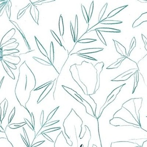 emerald tropical botanical hand drawn leaves and flowers - painted nature - contour pen monochrome - a412 - 6