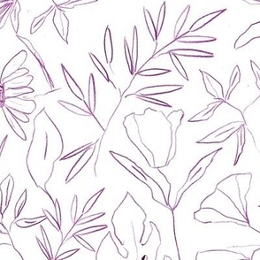 Marsala tropical botanical hand drawn leaves and flowers - painted nature - contour pen monochrome - a412 - 8