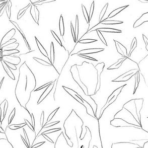 Noir tropical botanical hand drawn leaves and flowers - painted nature - contour pen monochrome - a412 - 9
