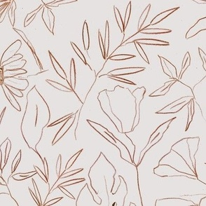 Earthy tropical botanical hand drawn leaves and flowers - painted nature - contour pen monochrome - a412 - 10