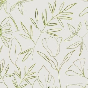 Khaki tropical botanical hand drawn leaves and flowers - painted nature - contour pen monochrome - a412 - 11