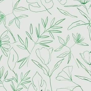 tropical botanical hand drawn leaves and flowers - painted nature - contour pen monochrome - a412 - 12