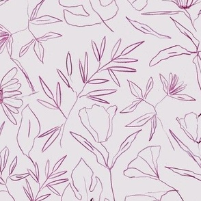 Marsala tropical botanical hand drawn leaves and flowers - painted nature - contour pen monochrome - a412 - 14