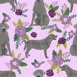 LARGE silver lab dog fabric - silver labrador, labrador fabric, silver lab fabric, floral fabric, floral dog fabric - purple