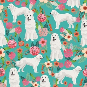 LARGE great pyrenees floral dog fabric cute dogs design best florals pyrenees florals fabric